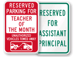 School Reserved Parking Signs by Title