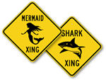 Shark, Whale, Mermaid Crossing Signs