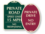 Designer Private Roads Signs