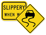 Slippery Road Signs