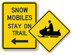 Snowmobile Crossing Signs