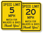 Bike and Bicycle Speed Limit Signs