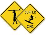 Surfer Crossing Signs