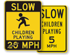 Watch for Children Speed Limit Signs