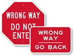 Wrong Way Signs
