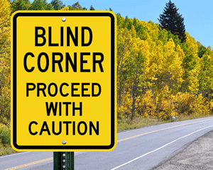 Blind Corner Proceed With Caution Signs