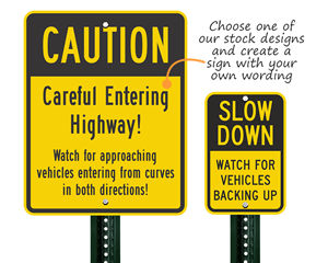 Custom and Stock Caution Traffic Signs