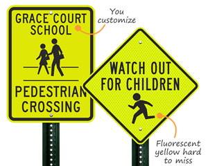 Children crossing signage