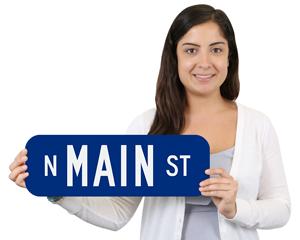 Custom Blue Street Signs - 6' High Signs