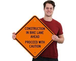 Construction in Bike Lane Ahead Sign