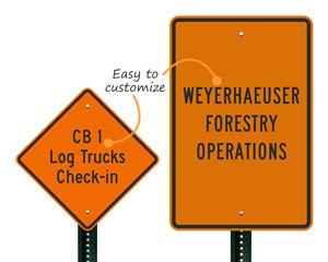Custom log truck sign