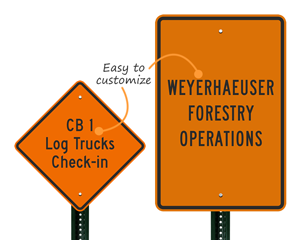 Custom log truck sign