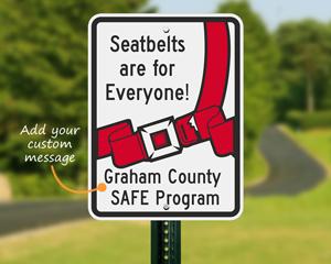 Custom seat belt sign
