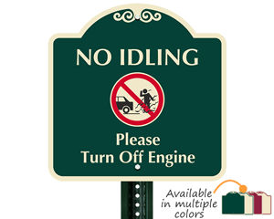 Designer no idling sign
