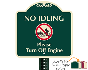 Designer no idling sign