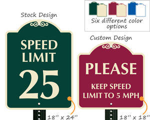 Designer speed limit signs