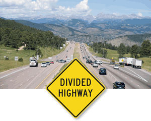 Divided Highway road Traffic Signs