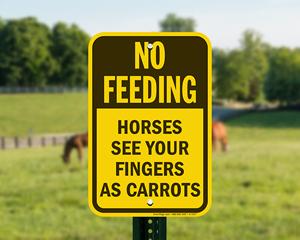 Do not feed horses sign