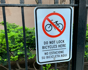 Do not lock your bicycle here sign