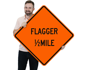 Flagger Signs by Distance