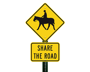 Horse crossing share the road signs