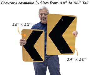 Left arrow signs in two popular sizes