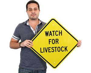 Livestock warning sign