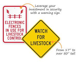 Livestock warning signs