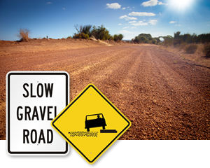 Slow Gravel Road Signs