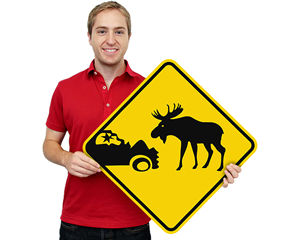 Moose and Elk Crossing Signs