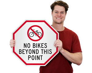 No bike beyond this point sign