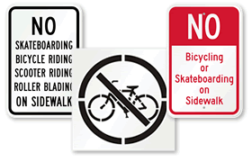 No Biking No Skateboarding on Sidewalk Signs