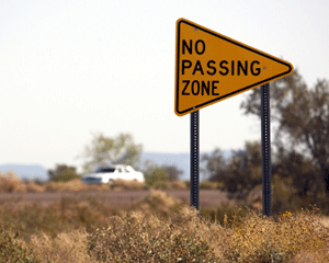 No Passing Zone Signs