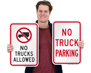 No trucks signage