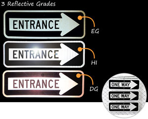 One way signs at night – compare three reflective grades