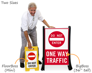 Portable traffic signs in two sizes