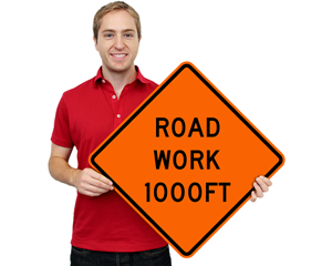 Road Work Warning Signs