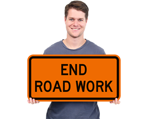 End Road Work Signs