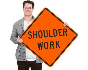 Shoulder work zone sign