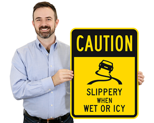 Slippery parking lot road signs