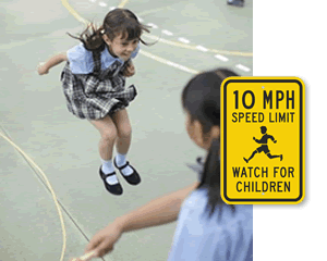 Slow children playing MPH sign