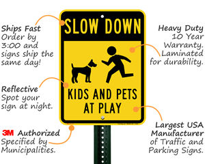 Slow Down Kids at Play Sign Features