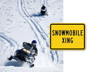 Snowmobile Crossing Road Signs