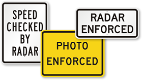 Speed Checked by Radar Signs