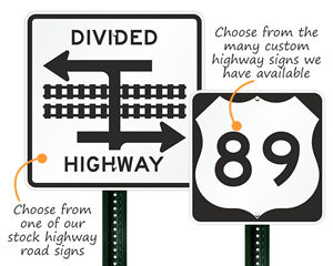 Stock and Custom Highway Road Signs