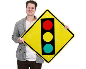 Traffic Light Ahead Signs