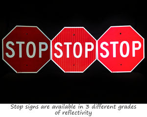 Stop signs 3 different grades of reflectivity