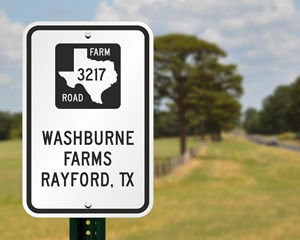 Custom texas farm road sign