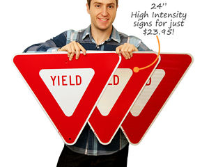 Yield Traffic Signs in Day