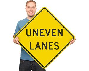 Uneven lane sign